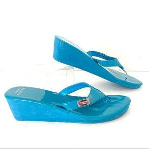 Simply Vera Wedge Sandals Thong Blue PatentLeather